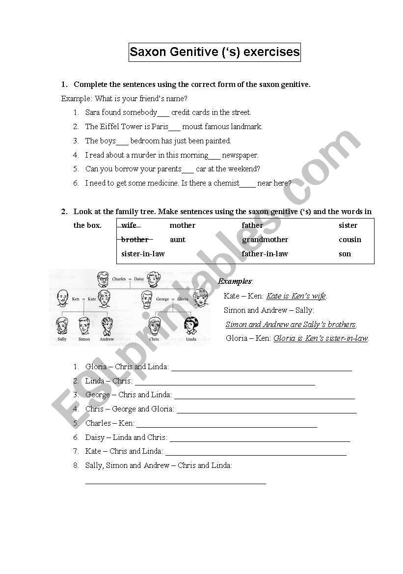 Saxon Genitive worksheet