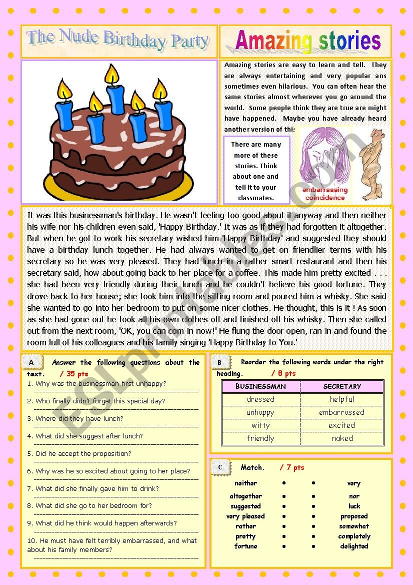 AMAZING STORIES The Nude Birthday Party (Easy Reader + Voca and Ex) 2/…