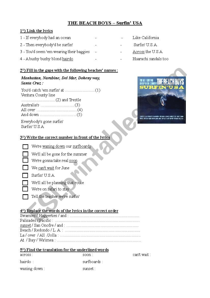 Beach Boys Surfin Usa Esl Worksheet By Marie Nieto
