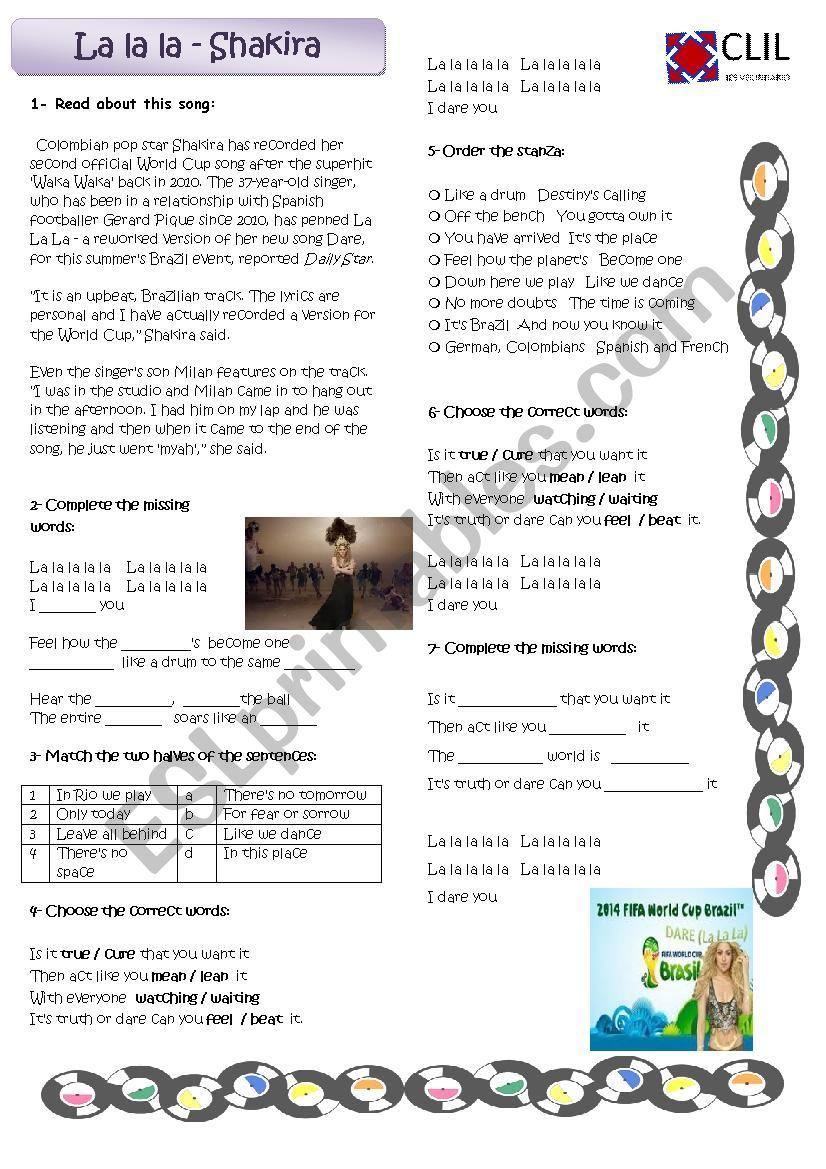 Song - La la la - Shakira worksheet