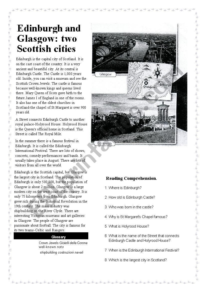 Edinburgh and Glasgow worksheet