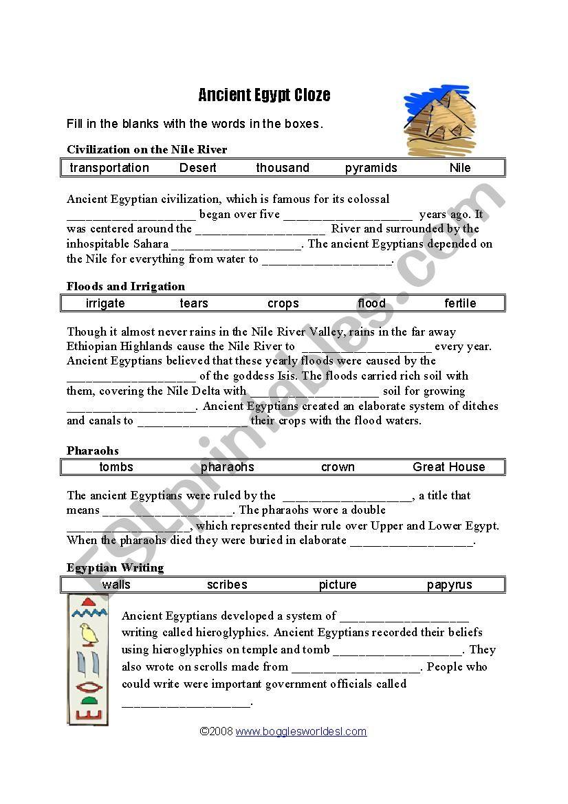 Ancient Egypt Cloze test worksheet
