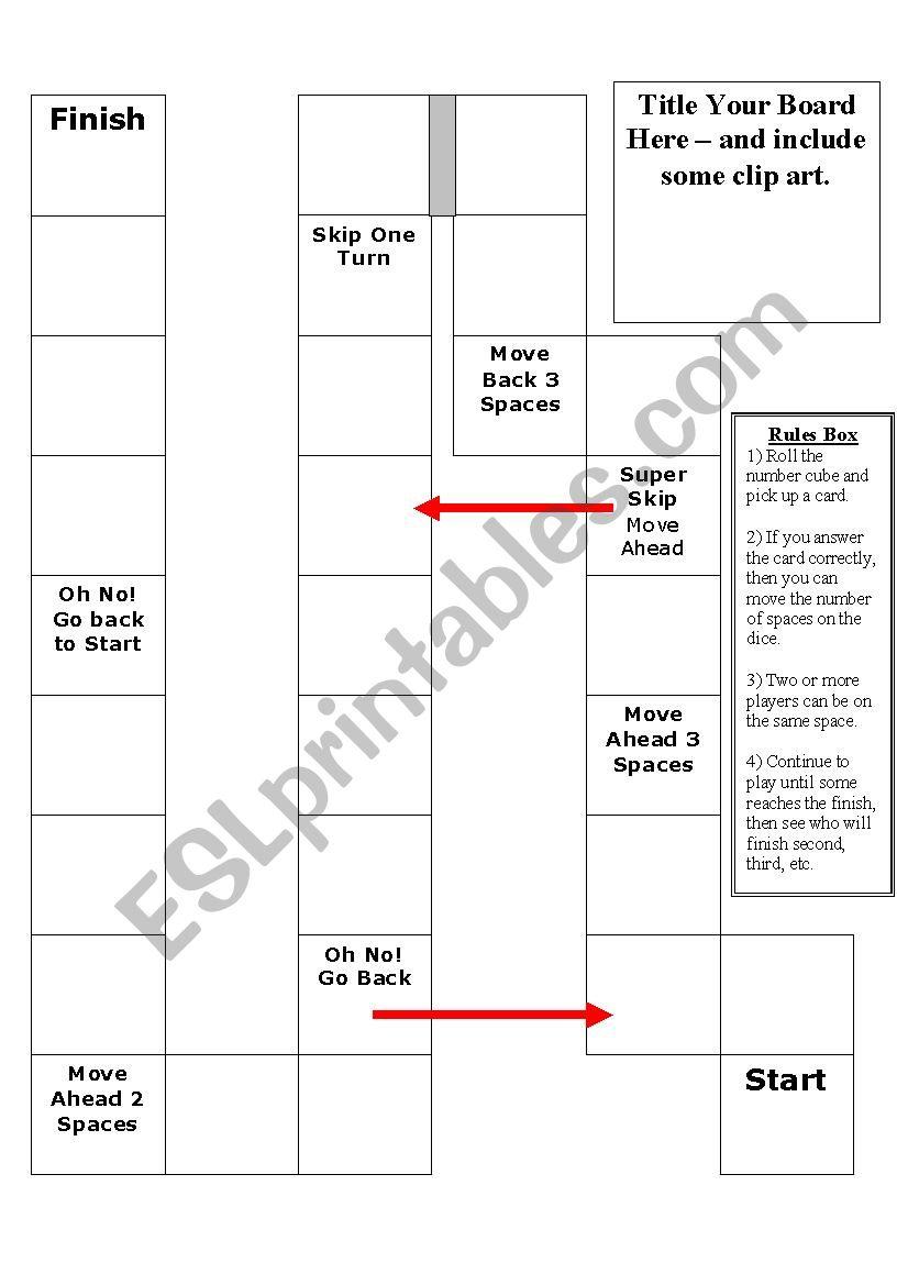 Board Game Template 1 worksheet