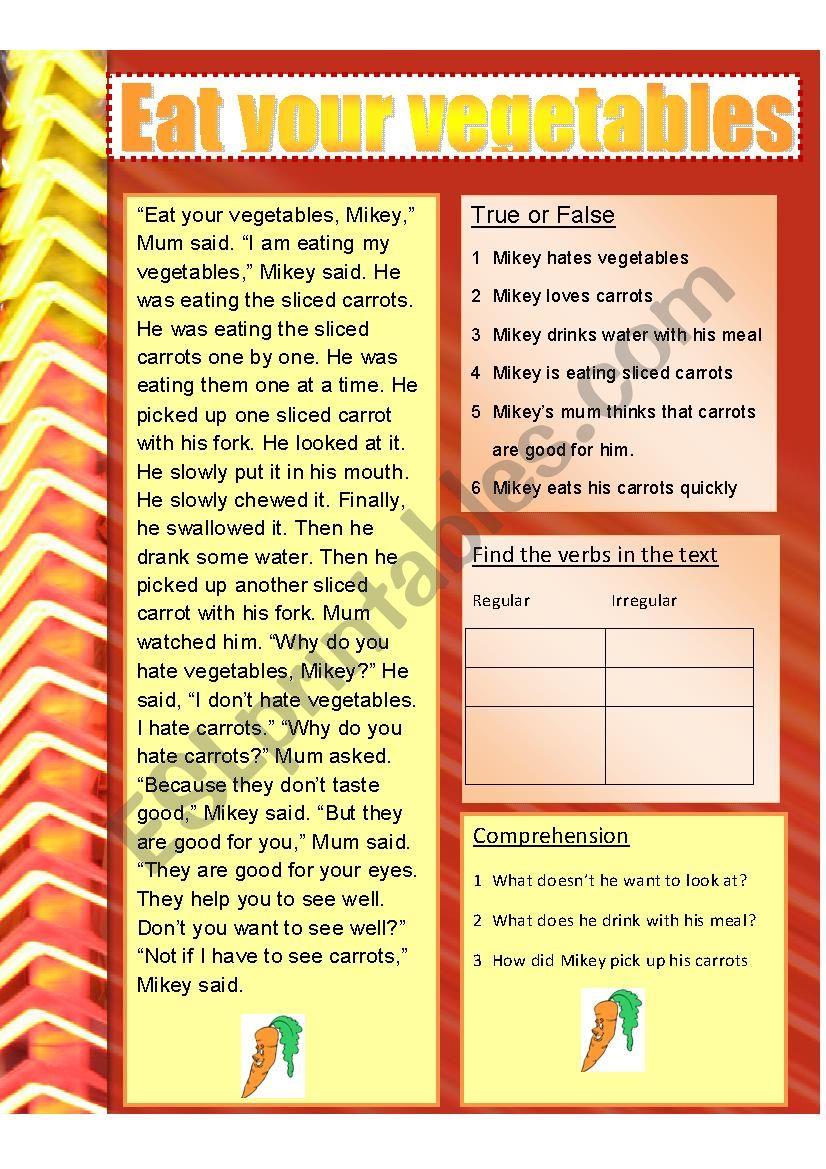 Eat your vegetables worksheet