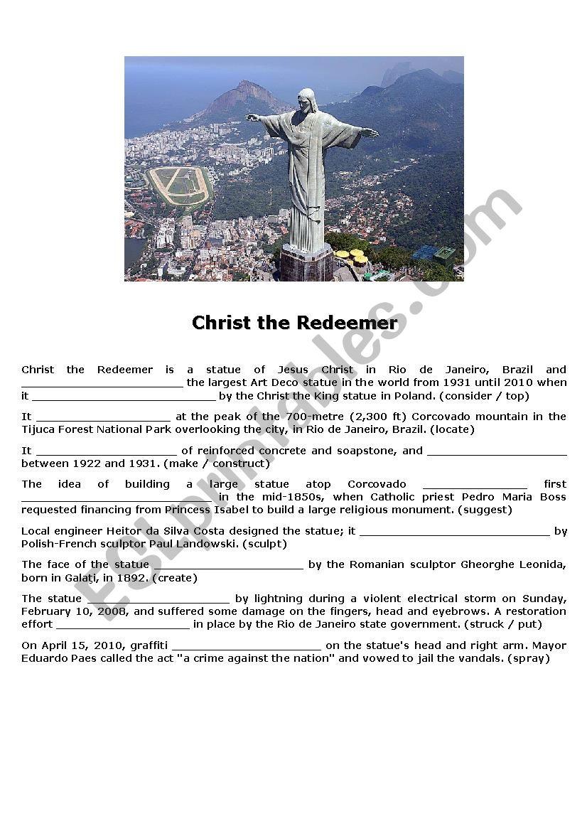 Christ the Rendeemer worksheet