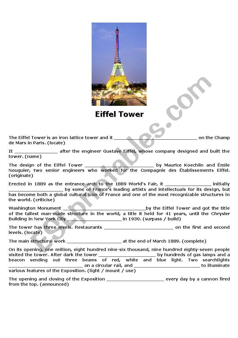 Eiffel Tower worksheet
