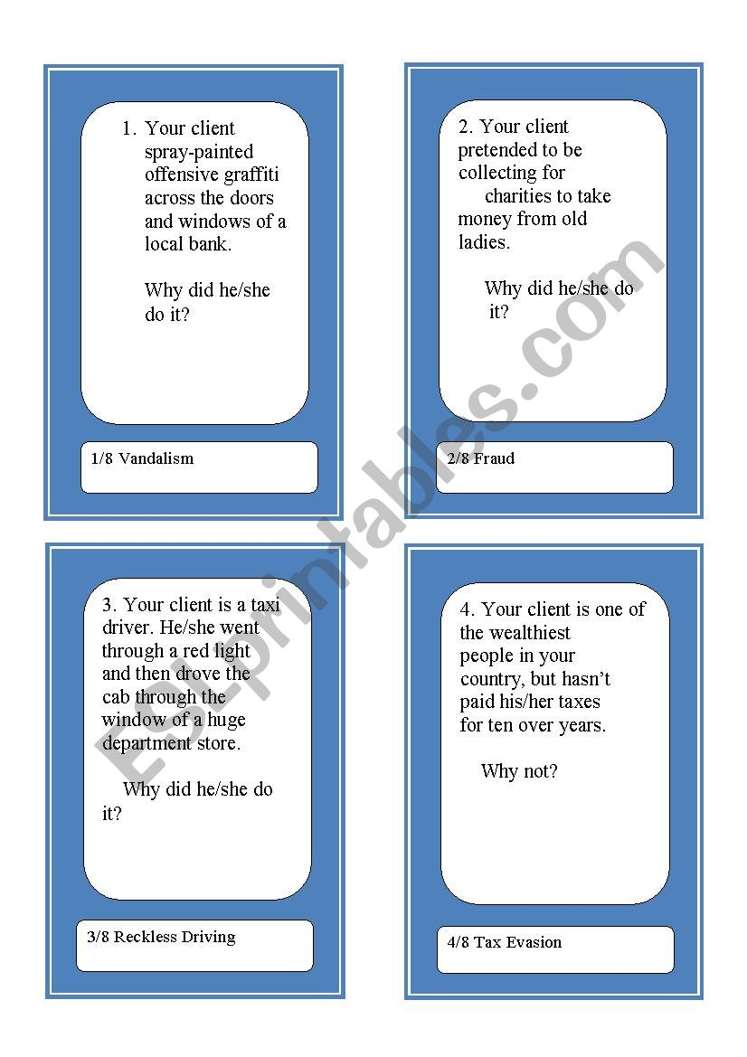 Activity Cards and Role Play Game - Crime and Justice 1