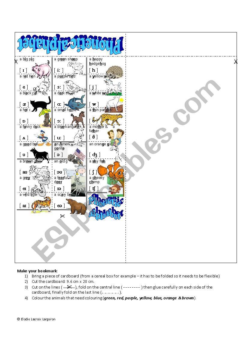 Bookmark - phonetic animals worksheet