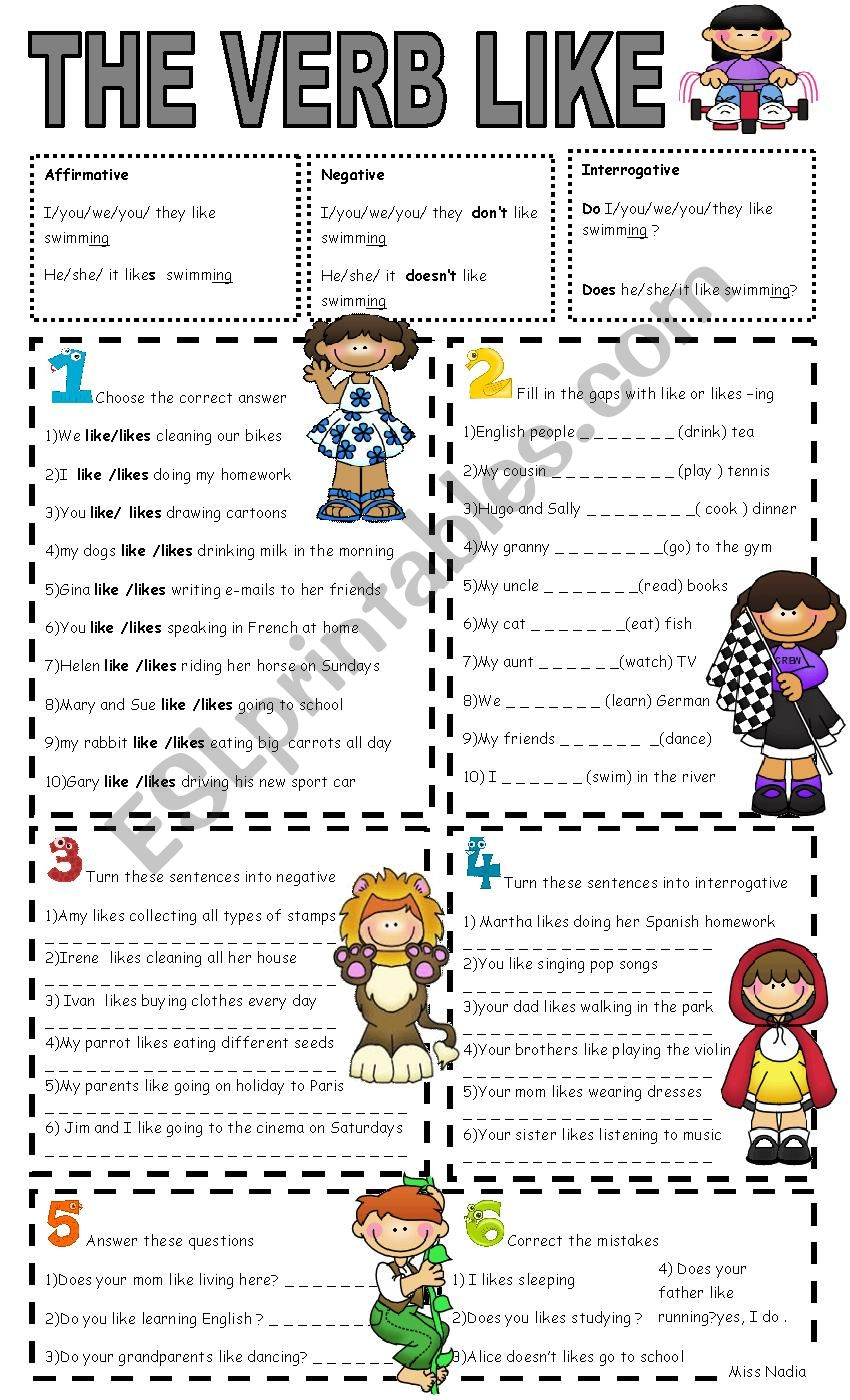 like+ing worksheet