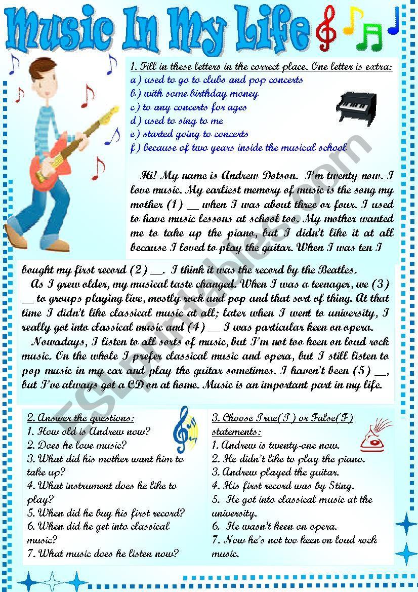 Music In My Life worksheet