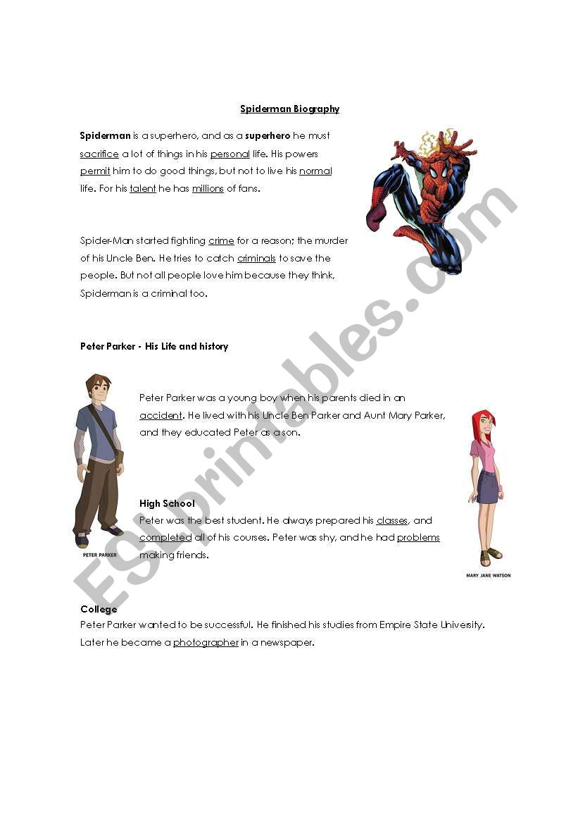 Spiderman Biography worksheet