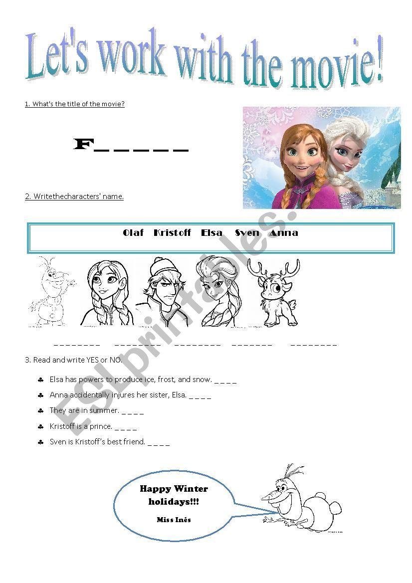 Frozen - ESL worksheet by nessieta