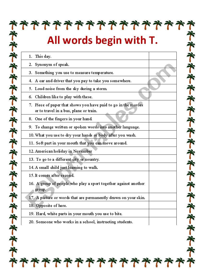 All words begin with T worksheet