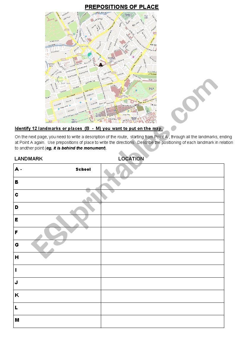Prepositions of Place Walk worksheet