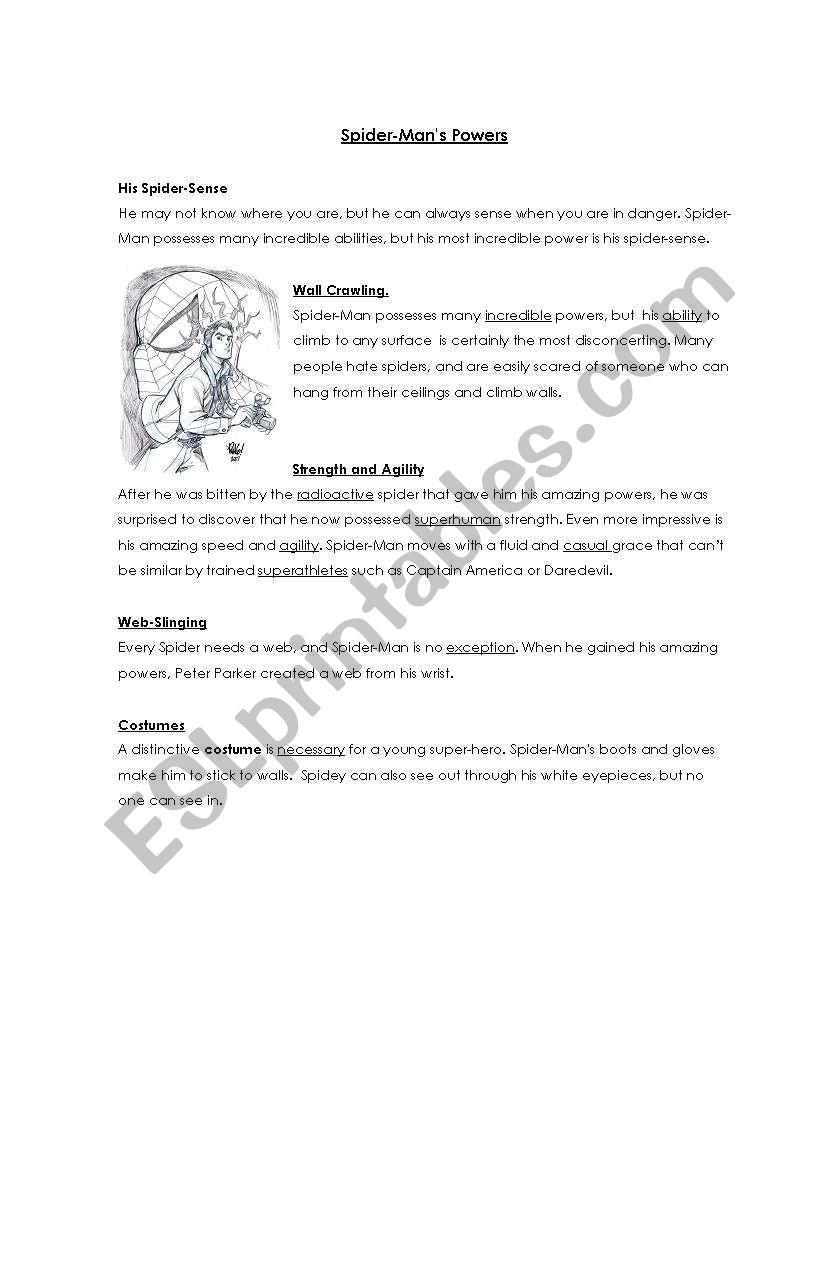 Spiderman´s powers worksheet