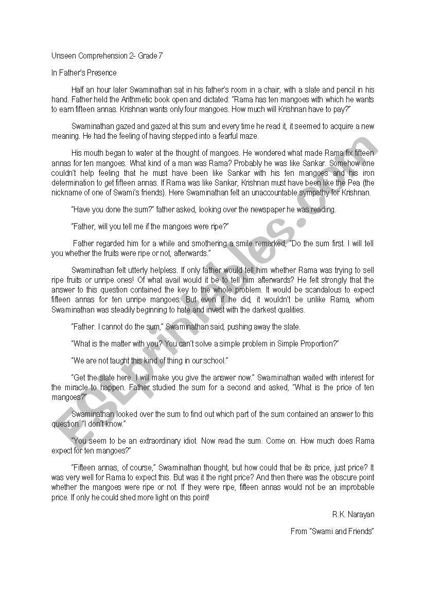 - Unseen Comprehension - ESL Worksheet By Sonal28