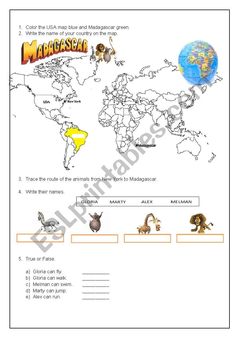 Madagascar Movie - ESL worksheet by Lu Mendes