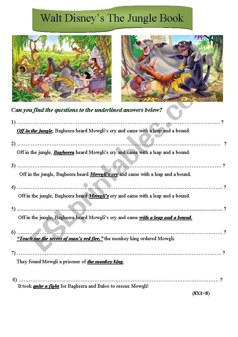 The Jungle book, Walt Disney worksheet