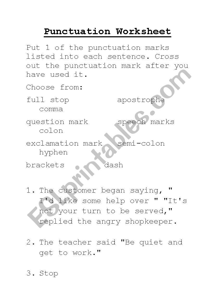 Punctuation Worksheet worksheet