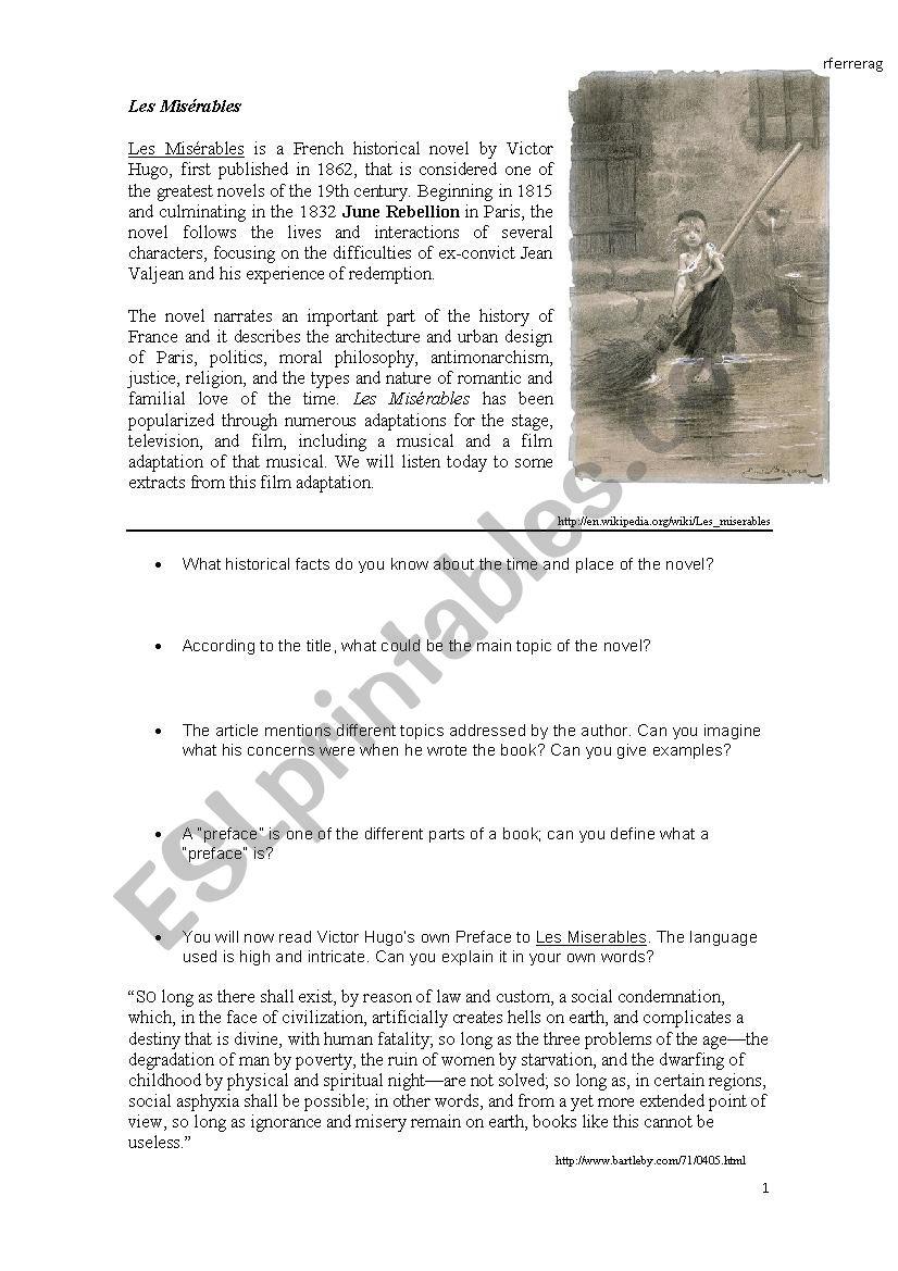 worksheet Les Miserables Worksheet english worksheets les miserables 2012 worksheet