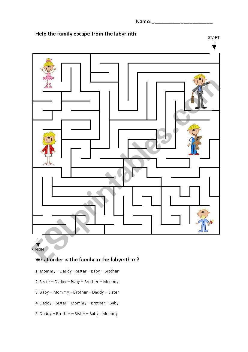 Family Labyrinth worksheet