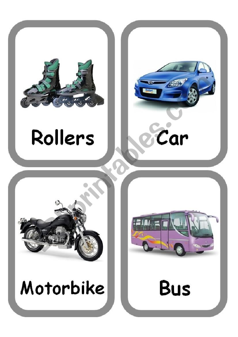 Means of transport Set of FlashCards