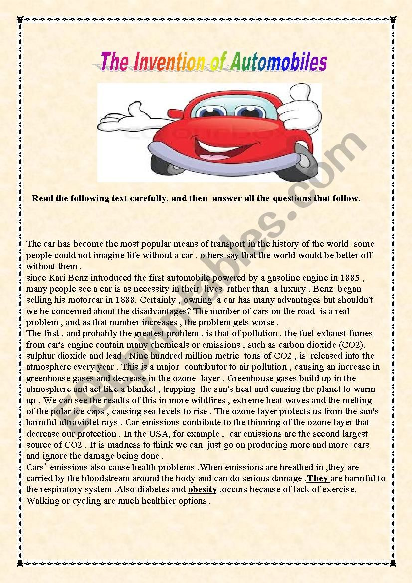 Automobiles  worksheet