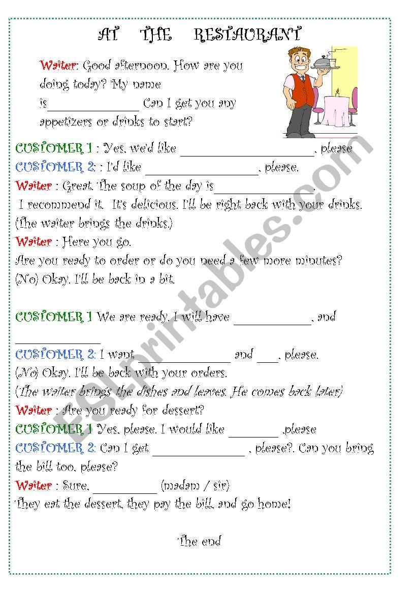 ROLE PLAY ORDERING FOOD worksheet