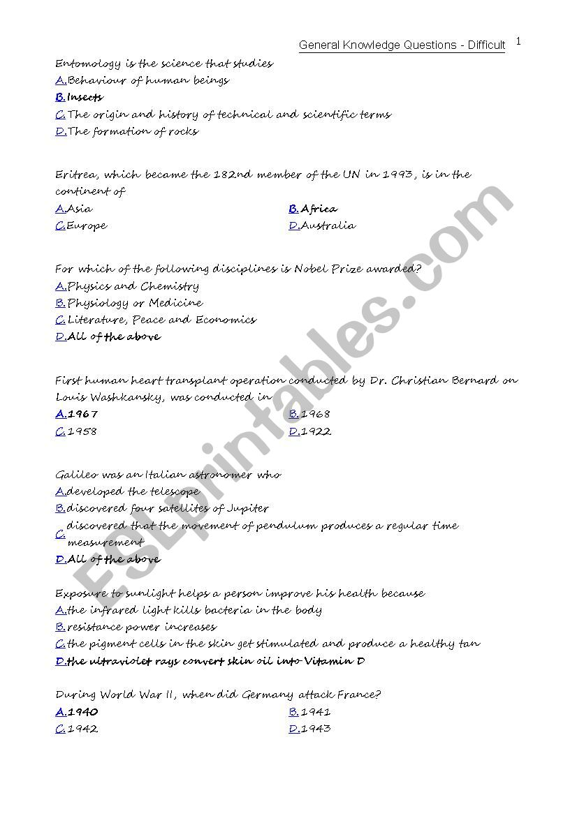 General Knowledge Questions - ESL worksheet by angelafelicio