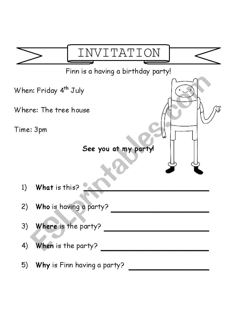 Invitation Who What When Where Why Esl Worksheet By