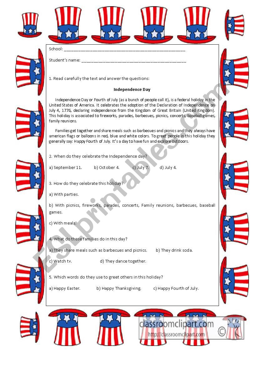 Independence Day worksheet