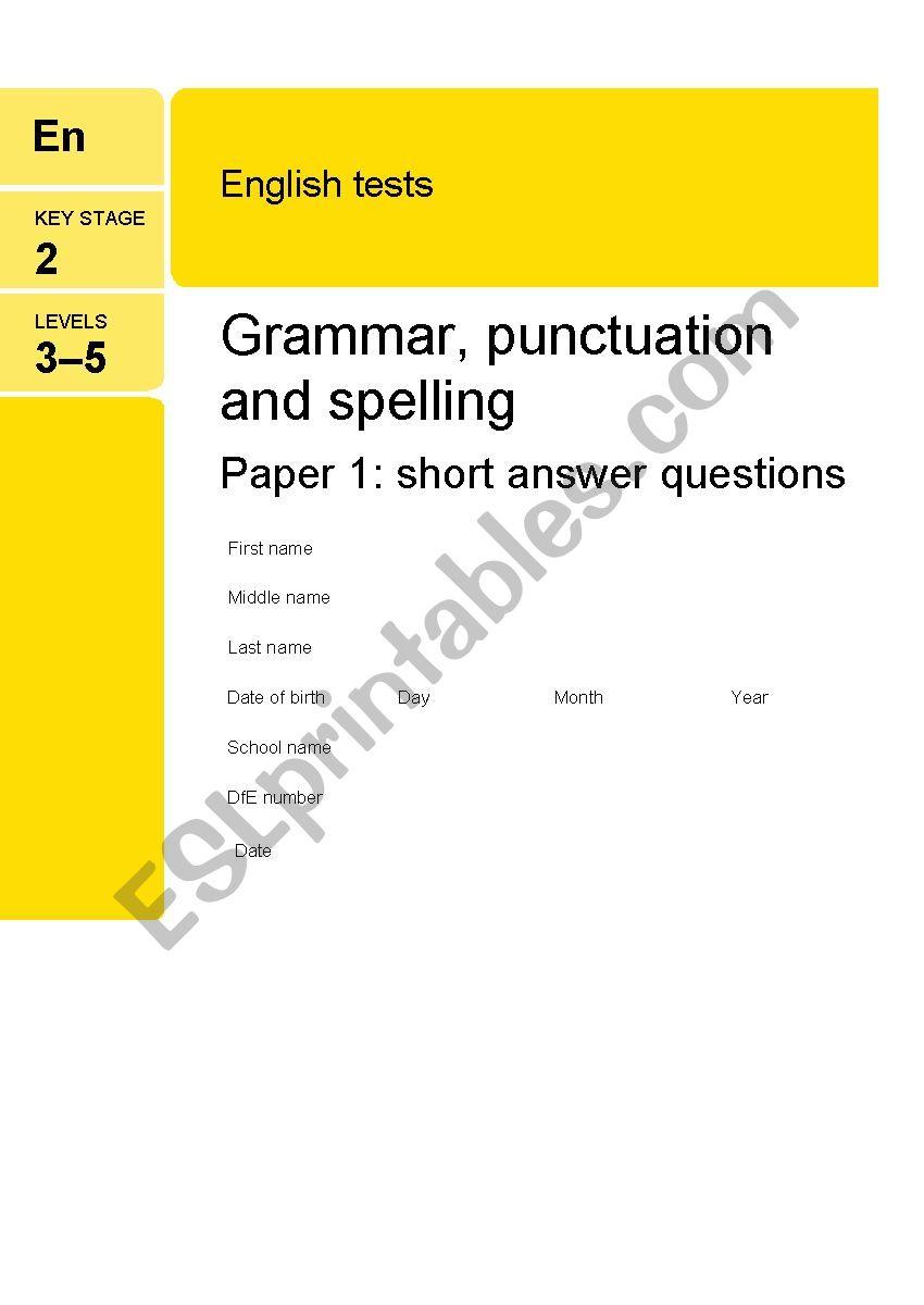 - Short SPAG Test - ESL Worksheet By Carolinewh