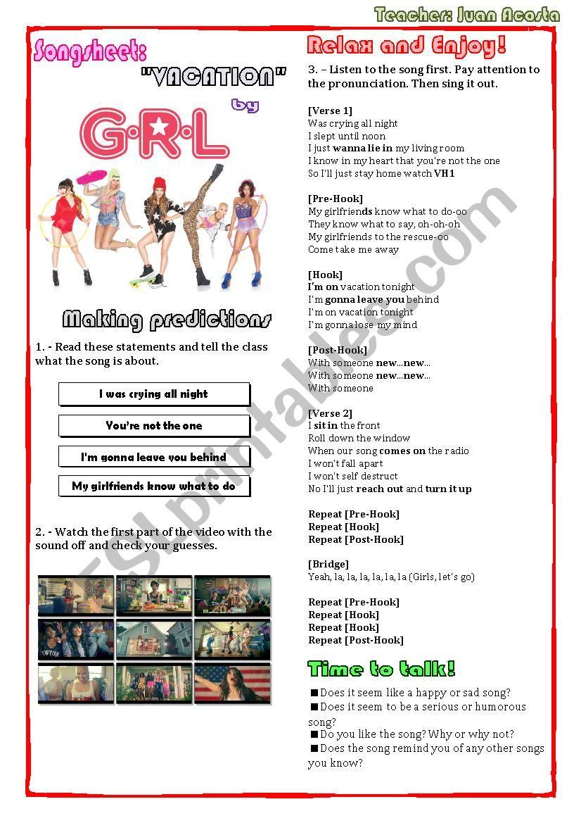 SONGSHEET: VACATION BY GRL worksheet