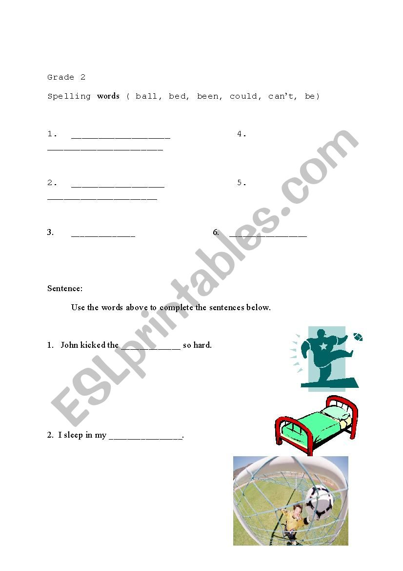 photo regarding Grade 2 Spelling Words Printable identified as Spelling Words and phrases for Quality 2 - ESL worksheet through rech