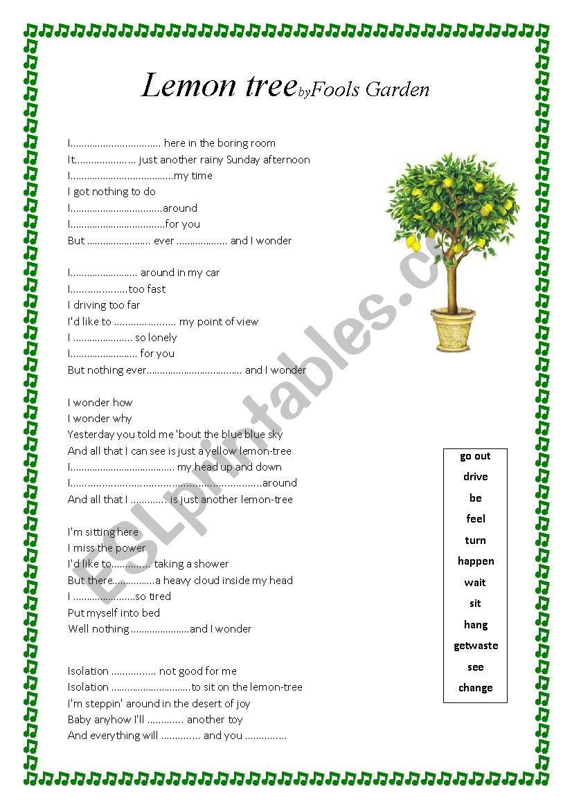 worksheet Lemon Tree Worksheet english worksheets lemon tree lyrics worksheet worksheet