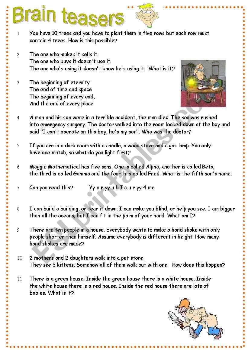 Brain teasers Part 2 worksheet