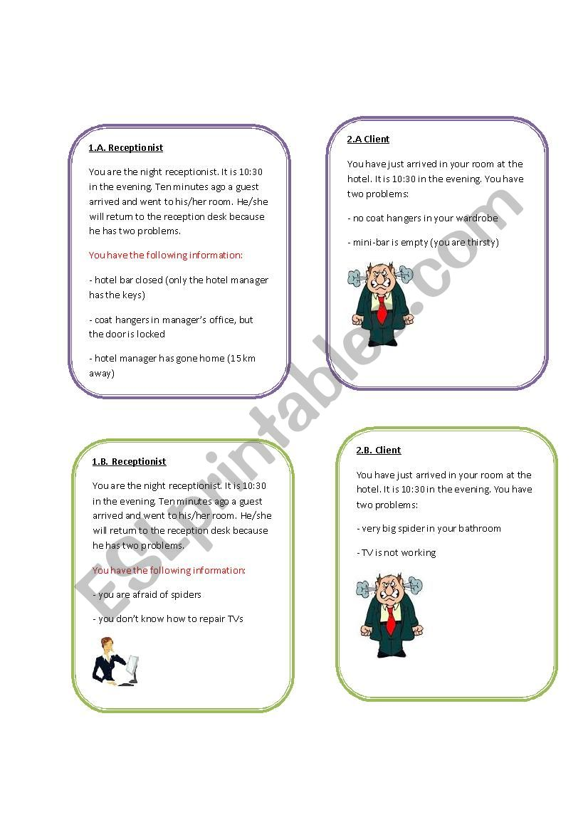 complaints at the hotel roleplay - ESL worksheet by laviniajolte