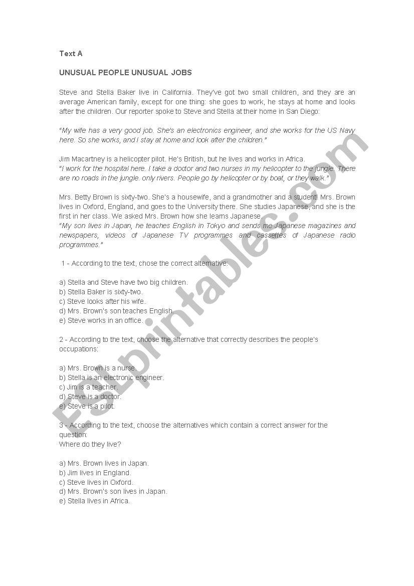 Exercise - ESL worksheet by flavinharoberta