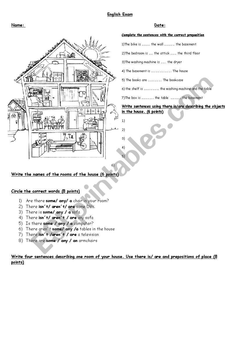 Describing the house with prepositions of place