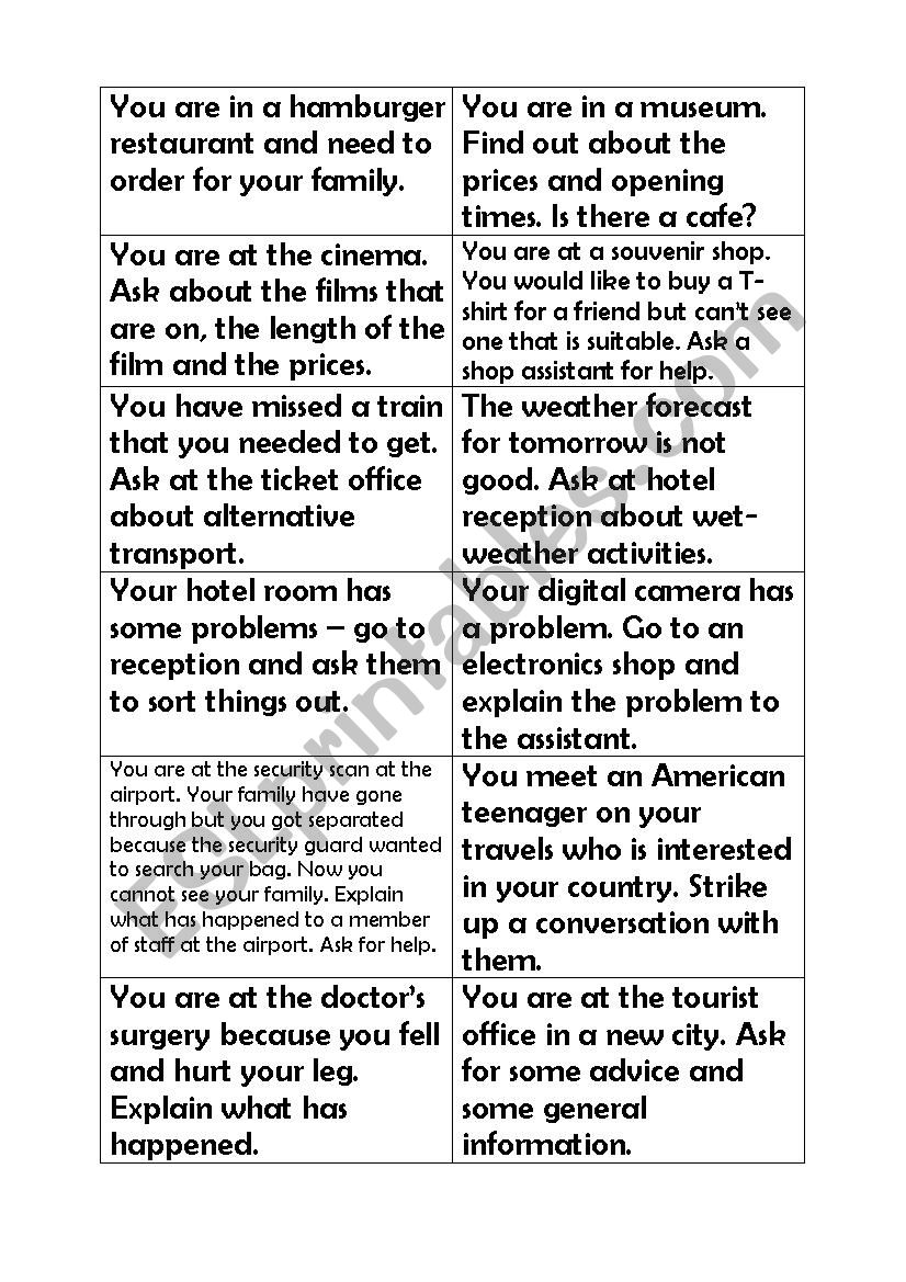Role plays / Situation cards: a holiday in an English-speaking country