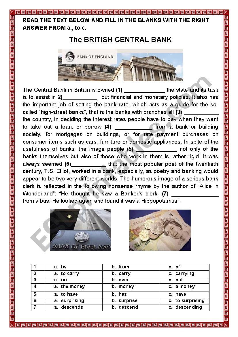 THE BRITISH CENTRAL BANK worksheet