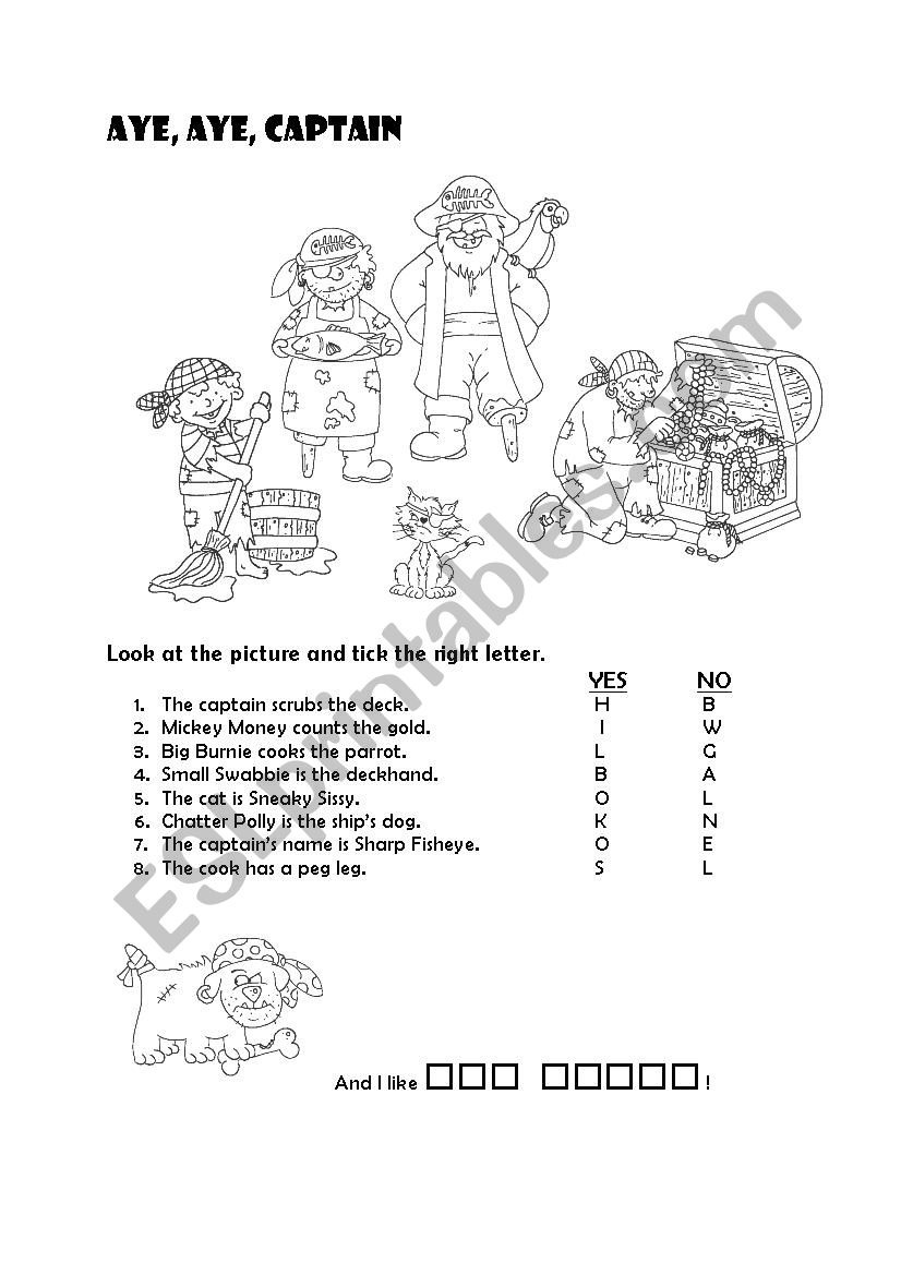Watch Out Pirates About 13 Esl Worksheet By Krmel