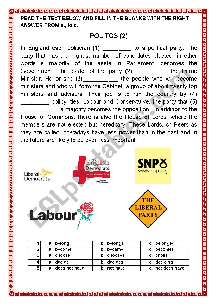POLITICS 2 worksheet