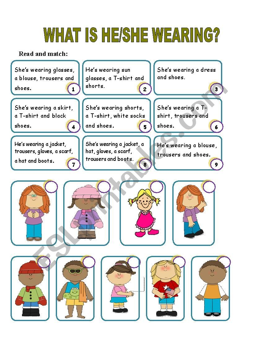 What is he/she wearing? worksheet