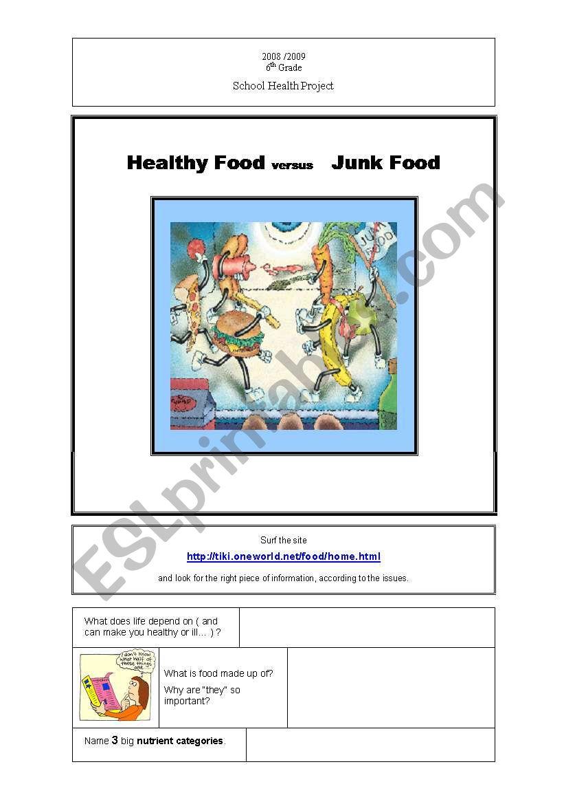 Healthy Food vs. Junk Food (1st Part )