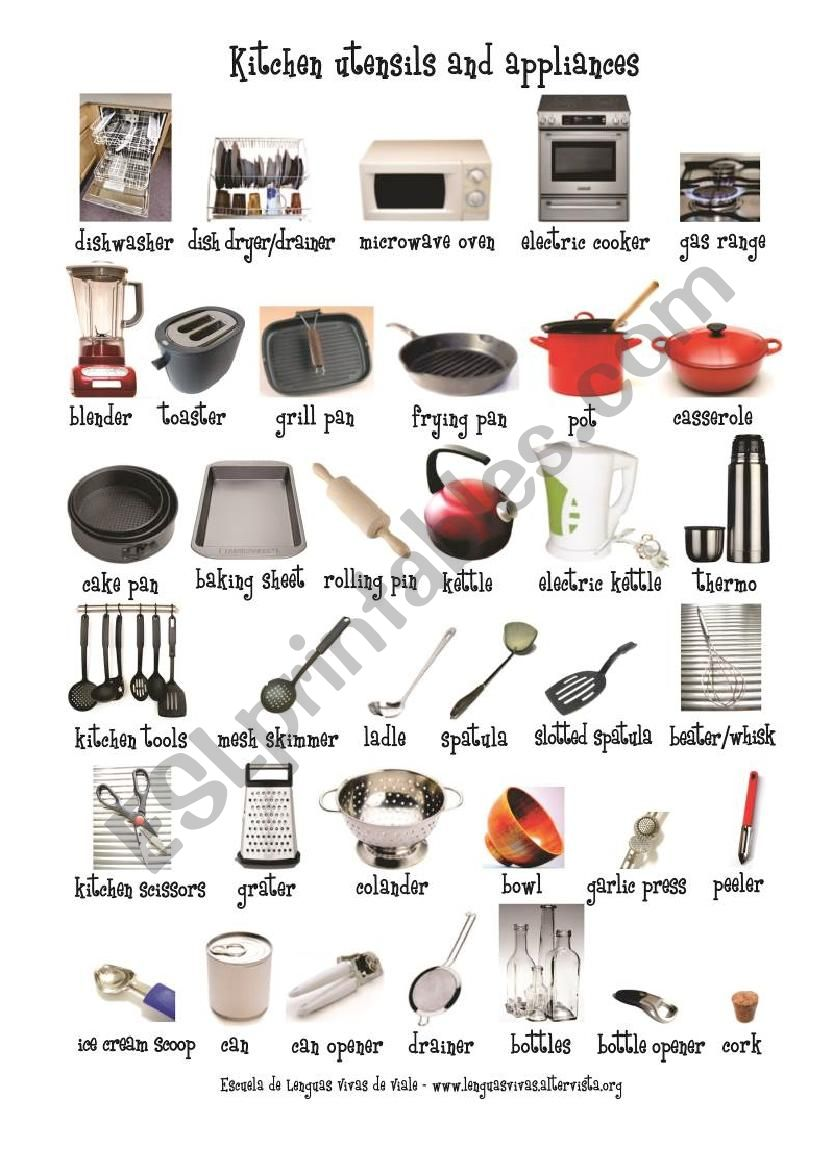The House The Kitchen Utensils And Appliances 1 Esl