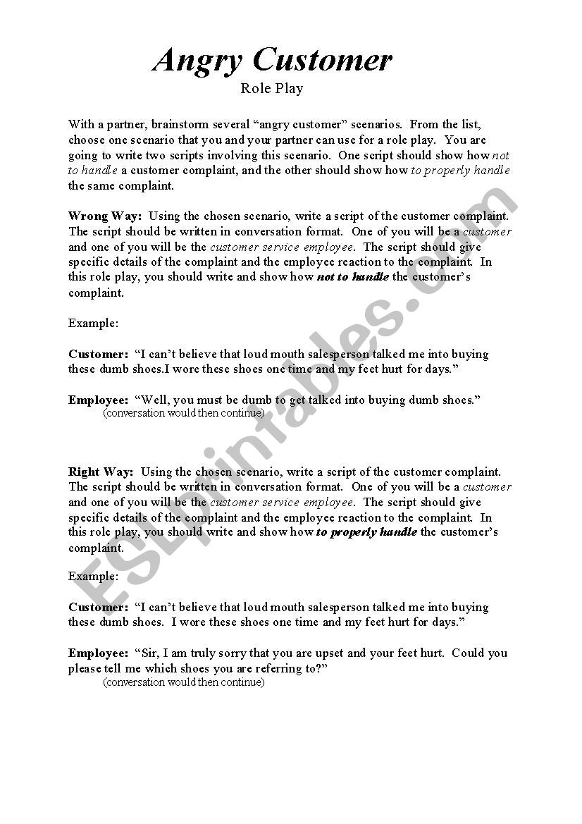 Angry customer role play - ESL worksheet by tjtourism
