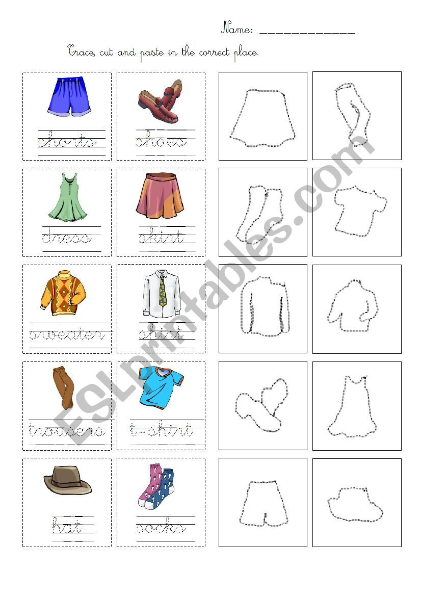 Trace cut and paste clothes worksheet