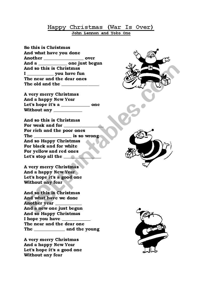 English worksheets: Happy Christmas by John Lennon & Yoko Ono