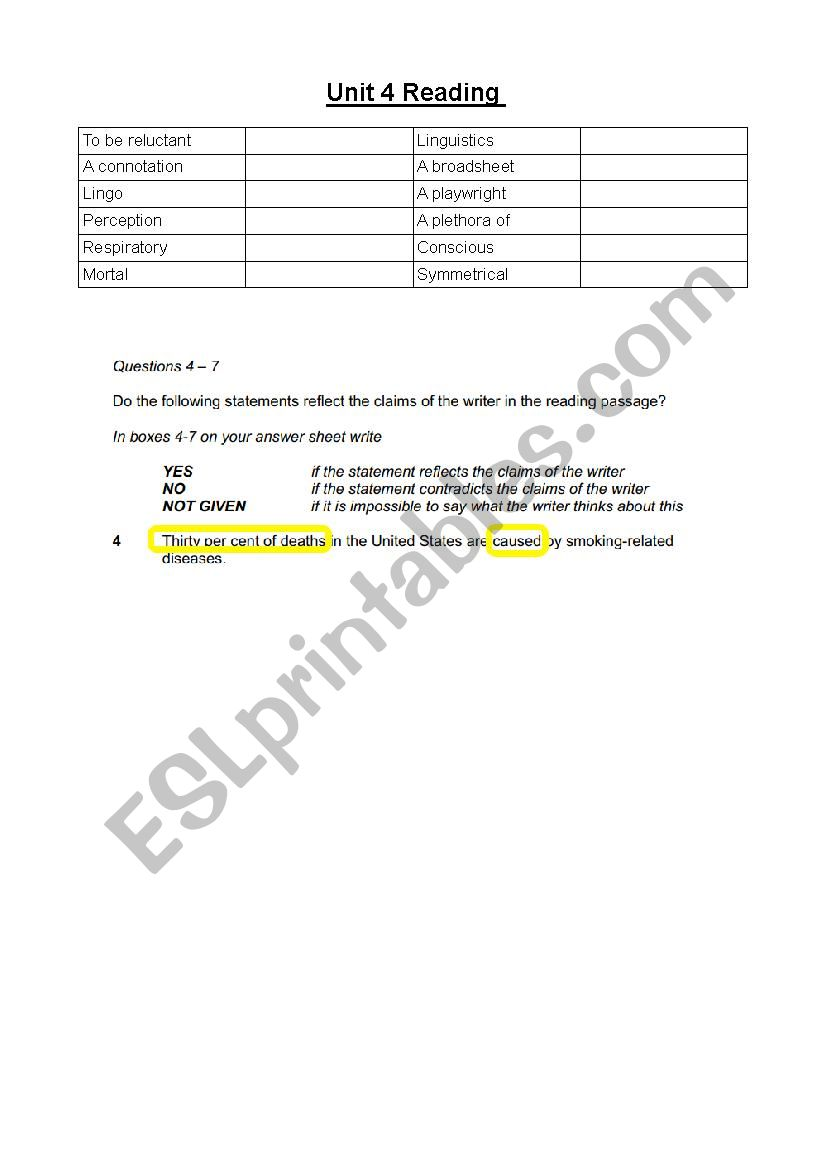 IELTS READING VOCABULARY UNIT 1-10 - ESL worksheet by